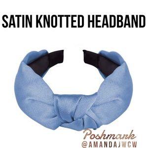 """Silk Cross Knot Twist Headband - Light Blue - 1"""""""